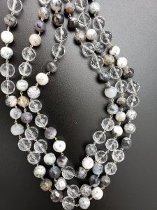 Three-Strand Dendrite Opal and Clear Quartz Necklace