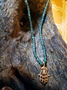 Apatite Necklace with Copper-plated Hamsa Pendant