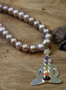 Yangtze Pink Pearl Necklace with Sterling Silver Chakra Pendant