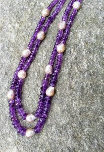 Two-strand Amethyst and Pearl Necklace