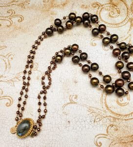 Copper Hematite and Chocolate Cultured Freshwater Pearl Necklace