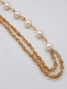 Two-strand Faceted Citrine and Pearl Necklace