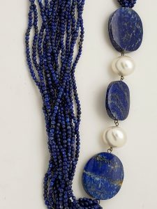 14-Strand Lapis Lazuli and Pearl Necklace