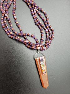 Amethyst and Pearls with Azeztulite Chakra Pendant