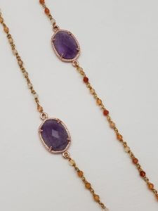Amethyst and Semi-Precious Gem Delicate Chain Necklace
