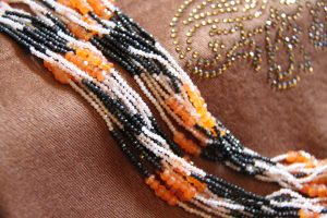 Black Spinel, Citrine and Carnelian 11-Strand Necklace