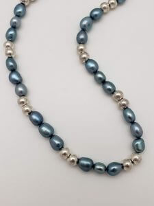 Blue-Gray Pearl and Sterling Silver Necklace