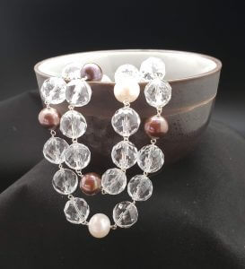 Faceted Clear Quartz and Brown and White Pearls Necklace