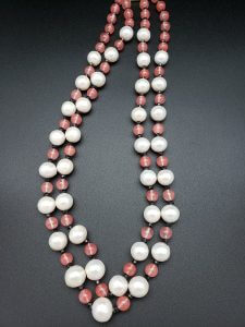 Two-strand Chalcedony, Black Spinel and Pearl Necklace