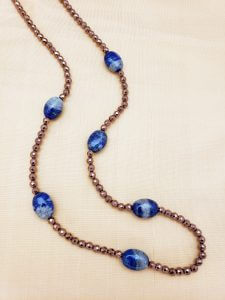 Faceted Copper Hematite and Lapis Lazuli Necklace