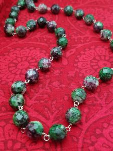 Faceted Ruby Zoisite Necklace