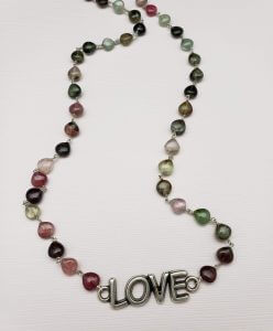 Green and Pink Tourmaline Necklace with Love Festoon