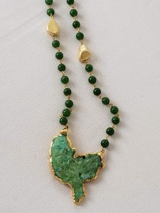 Jade Necklace with Copper Pendant