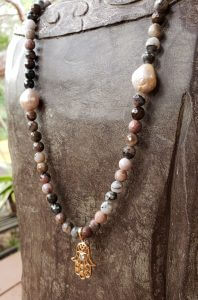 Jasper and Pearl Necklace with Copper-plated Hamsa Pendant