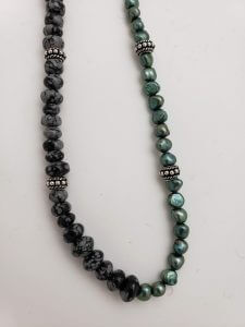 Green Pearl, Mystic Merlinite and Silver Necklace