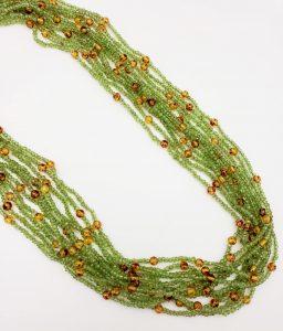 Peridot and Amber 11-Strand Necklace