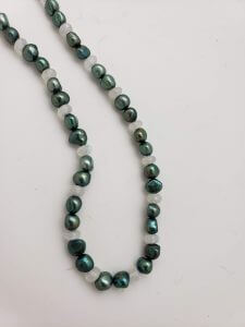 Rainbow Moonstone and Green Pearl Necklace