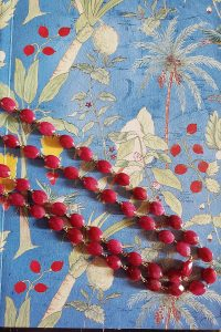 Two-strand Faceted Ruby Calcite Necklace