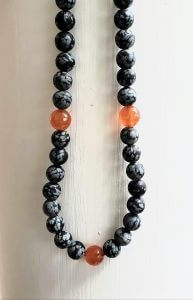 Snowflake Obsidian and Carnelian Necklace