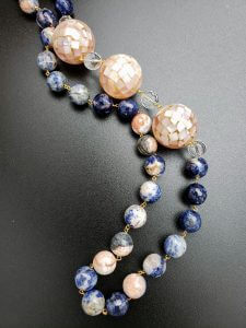 Sodalite, Clear Quartz and Abalone Necklace
