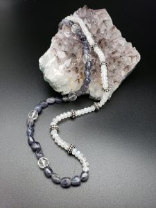 Sodalite, Rainbow Moonstone and Clear Quartz Necklace