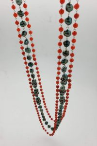 Three-strand Coral, Green Pearl and Decorative Silver Bead Necklace