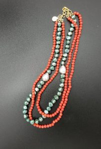 Three-strand Green Pearl, Coral and Fireball Pearl Necklace