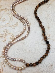 Tiger Eye and Pearl Necklace