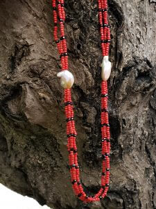 Two-Strand Coral, Black Spinel and Baroque Pearl Necklace