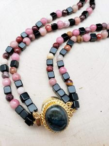 Two Strand Mookaite, Rhodonite and Obsidian Necklace
