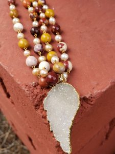 Two-Strand Mookaite and Pearl Necklace with Clear Quartz Druzy Pendant