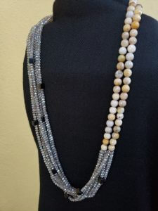 Two-strand Picture Jasper and Nine-Strand Silverite Labradorite and Obsidian Necklace