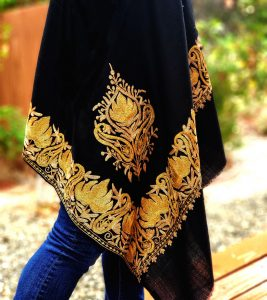 Black Shawl with Gold Floral Border