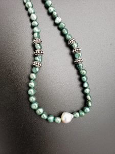 Green Pearl, Mauve Fireball Pearl and Sterling Silver Necklace