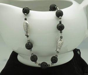 Black Lava, Hematite, Sterling Silver Fish Necklace