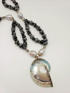 Mystic Merlinite and Pearl Necklace with Mother of Pearl Nautilus Pendant