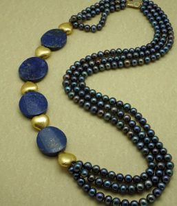 Three-strand Blue Cultured Freshwater Pearls, Lapis Lazuli and 24 K Gold Foil Necklace