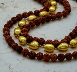 Three-strand Tiered Rudraksha and Gold Foil Bead Necklace