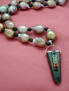 Yangtze Delta Fireball Cultured Pearls and Healer's Gold Necklace with Tourmaline Chakra Stone Pendant
