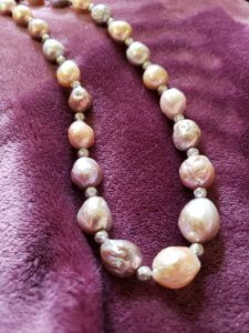 Yangtze Fireball Pearl and Sterling Silver Bead Necklace