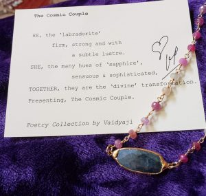 Mixed Sapphire Knotted Vermeil Necklace with Labradorite Festoon