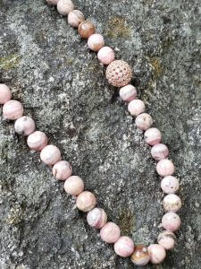 Rhodochrosite Necklace with Rose Gold