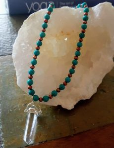 Turquoise and Brown Pearl Necklace with Clear Quartz Pendant
