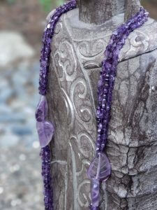 Multi-strand Amethyst Hearts and Leaves Necklace