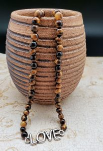 Tiger Eye Necklace with Love Festoon