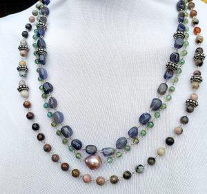 Sodalite, Sterling Silver, Apatite, Jasper and Fireball Pearl 3-Strand Necklace