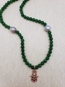 Jade Necklace with Fireball Pearls and Copper-plated Hamsa Pendant