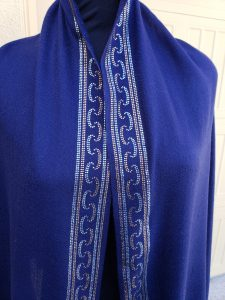 Navy Blue Shawl with Swarovski Crystals Border