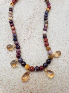 Mookaite Necklace with Citrine Briolette-Cut Citrine, Moonstone Clasp