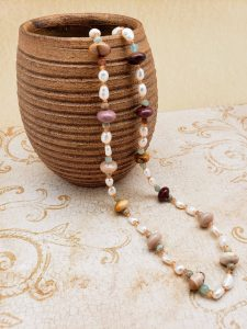 Mookaite, Citrine, Amazonite and Freshwater Pearl Necklace